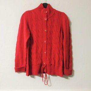 Style & Co Red Cable Knit Cardigan Sweater